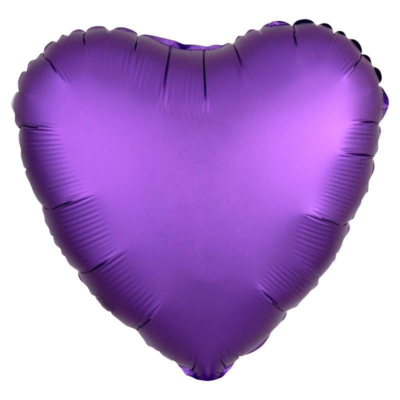 Globo Corazón Violeta Satinado 45 cm