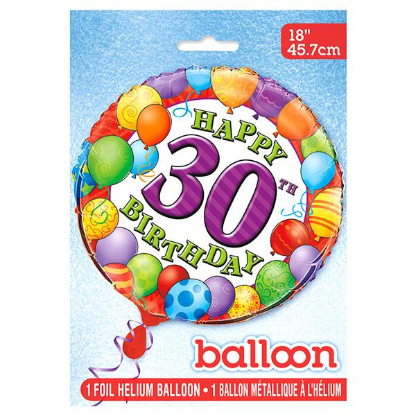 Globo de Foil 30 Cumpleaños 45 cm