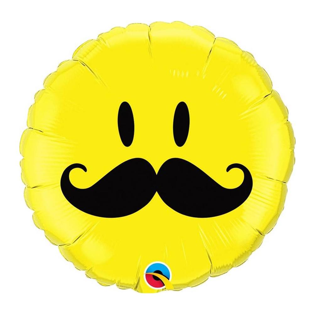 Globo de Foil Cara Sonriente con Bigotes 45 cm