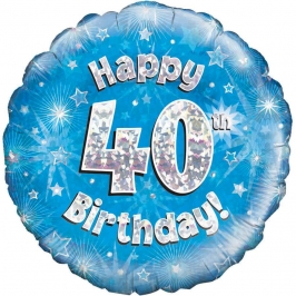 Globo de foil Holográfico 40 Cumpleaños azul