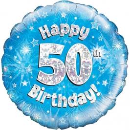 Globo de foil Holográfico 50 Cumpleaños azul