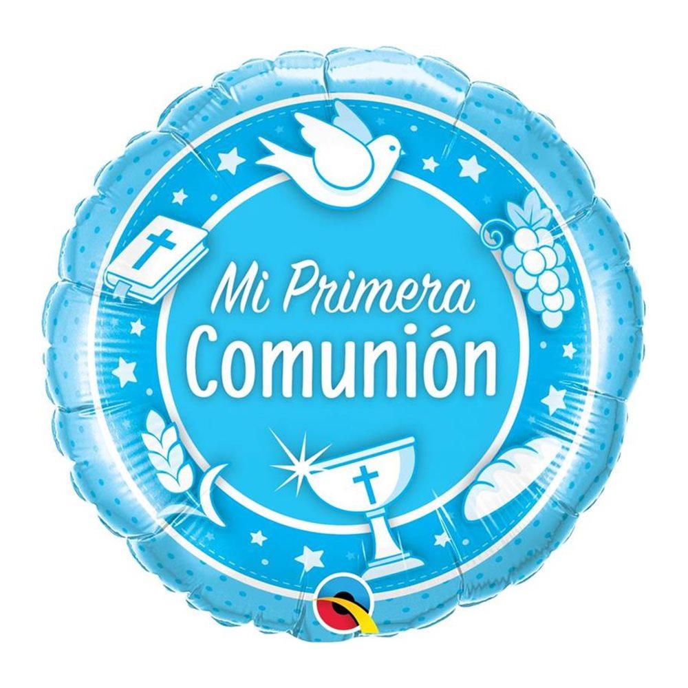 globo de foil mi primera comunión azul 45 cm my karamelli