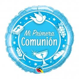 Globo de Foil Mi Primera Comunión Azul 45 cm