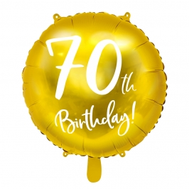Globo Foil 70 Cumpleaños Dorado 45 cm