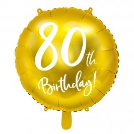 Globo Foil 80 Cumpleaños Dorado 45 cm
