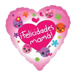 Globo Foil Corazón Felicidades Mamá 43 cm