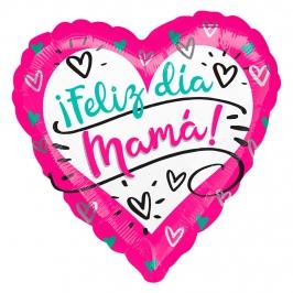 Globo Foil Corazón Feliz Día Mamá 43 cm