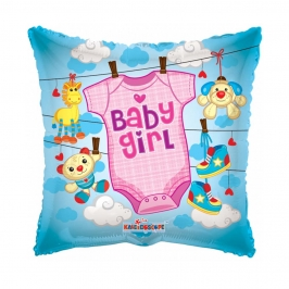 Globo Foil cuadrado Bebé Niña 45 cm