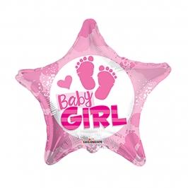 Globo Foil Estrella Bebé Niña 45 cm