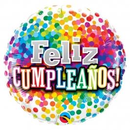 Globo Foil Feliz Cumpleaños Confeti Multicolor 46 cm
