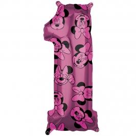 Globo Foil Nº 1 Rosa Minnie 66 cm