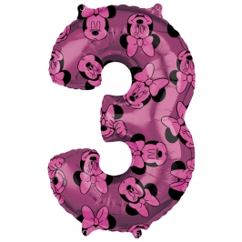 Globo Foil Nº 3 Rosa Minnie 66 cm