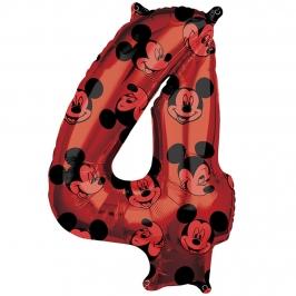 Globo Foil Nº 4 Rojo Mickey 66 cm