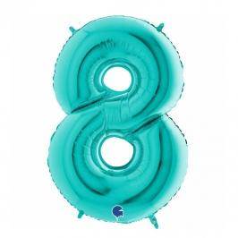 Globo Foil Número 8 Tiffany 1 Metro