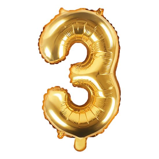 Globo Foil Número 3 Dorado 35 cm