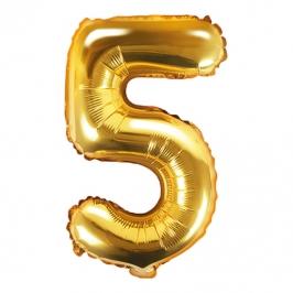 Globo Foil Número 5 Dorado 35 cm