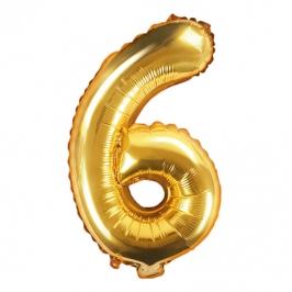 Globo Foil Número 6 Dorado 35 cm