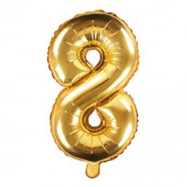 Globo Foil Número 8 Dorado 35 cm