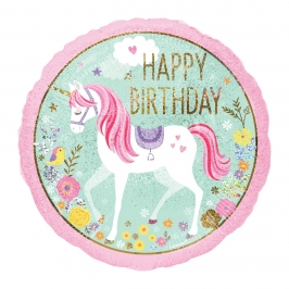 Globo Foil Unicornio Happy Birthday 45 cm