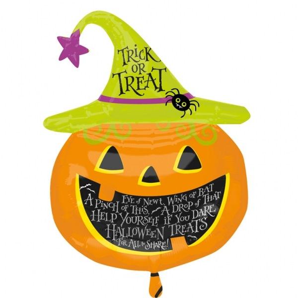 Globo Halloween calabaza con gorro de bruja 79cm