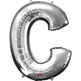 Globo letra C 40 cm plata