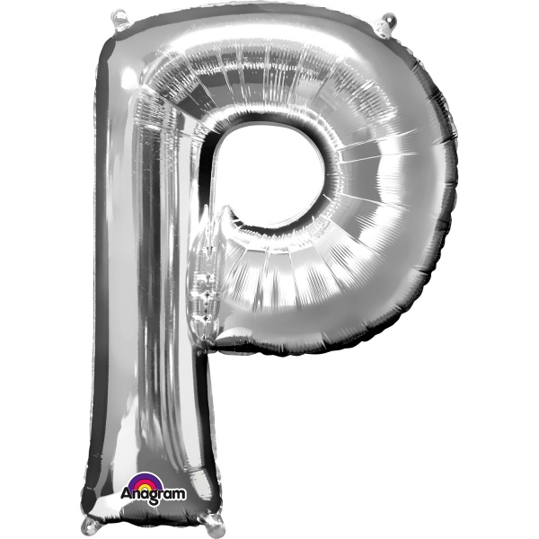 Globo letra P 40 cm plata