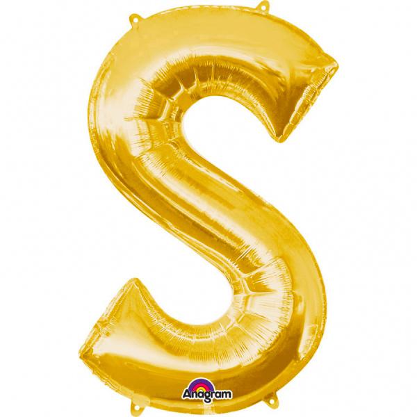 Globo Letra S 40 cm Dorado