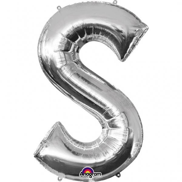 Globo letra S 40 cm plata