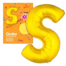 Globo Letra S dorado 1 Metro