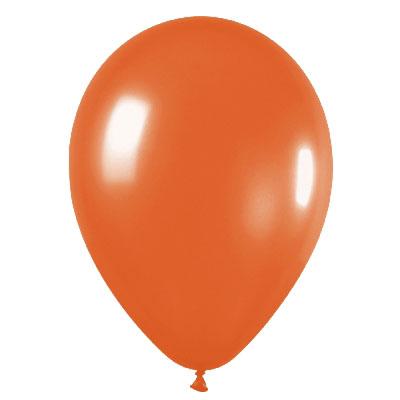 Pack de 10 globos de látex naranja metalizado