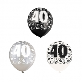 Set de 6 Globos 40 Cumpleaños Negro 30 cm