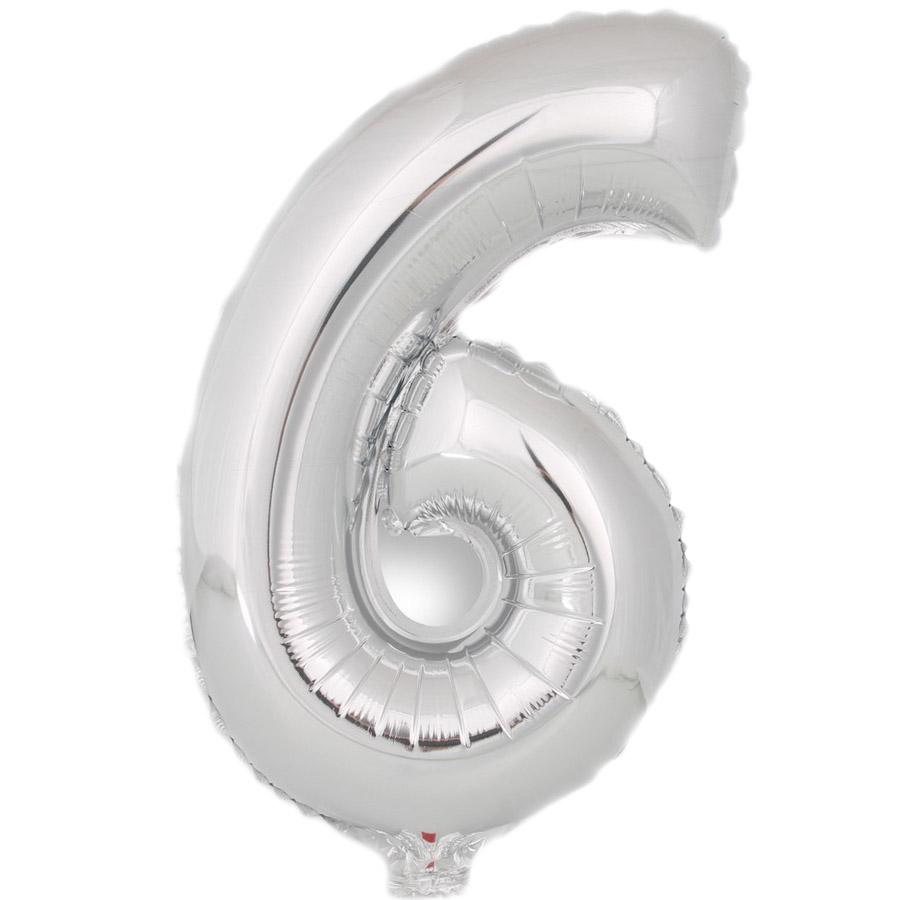 Globo Número 6 Plata 40cm - My Karamelli