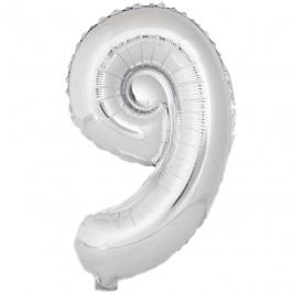 Globo Número 9 Plata 40cm