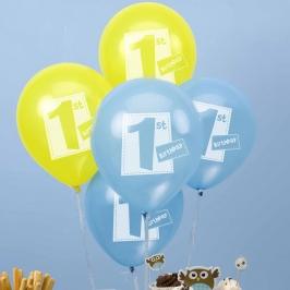 Globos 1er Cumpleaños Azules y Amarillos