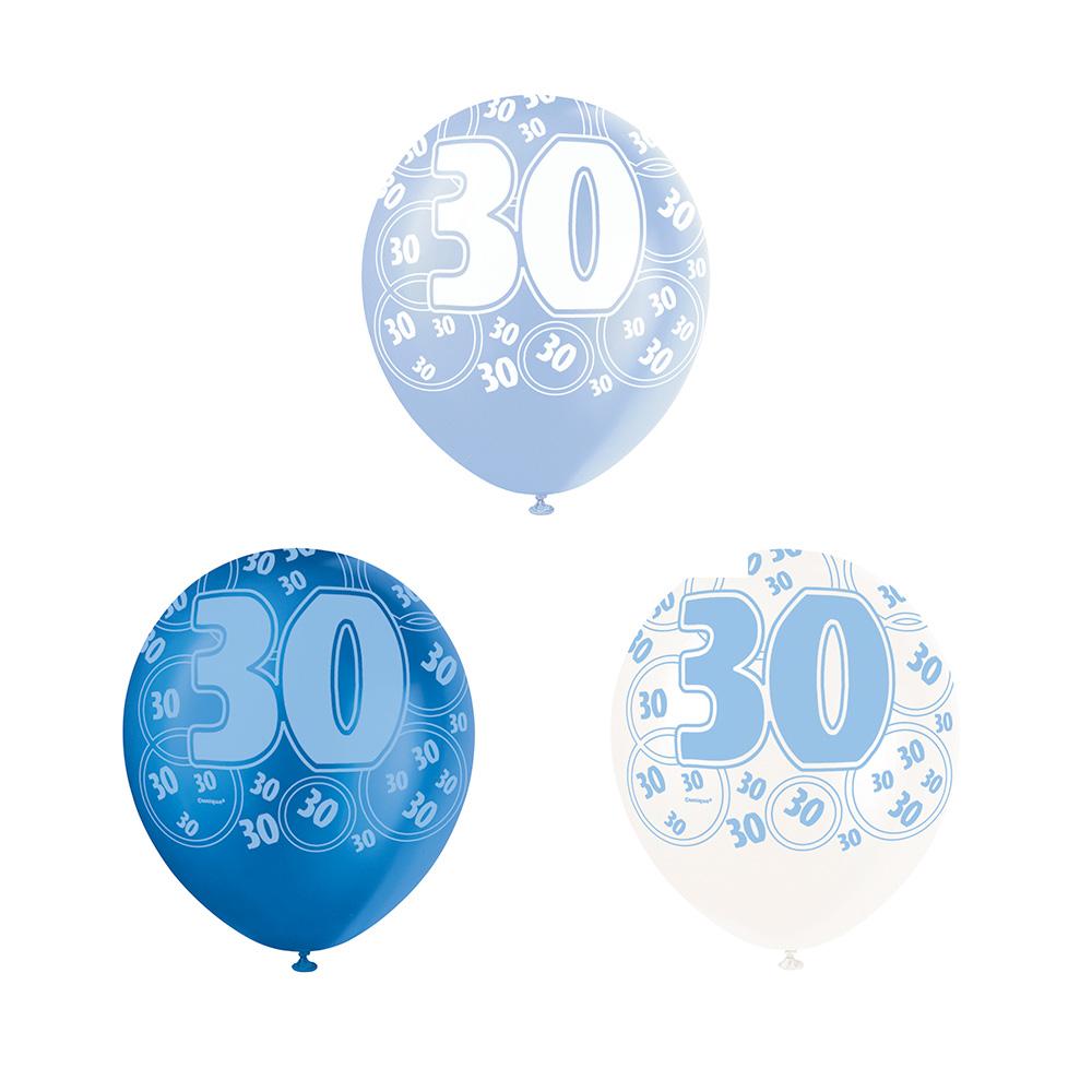 Set de 6 Globos 30 Cumpleaños Azul 30 cm