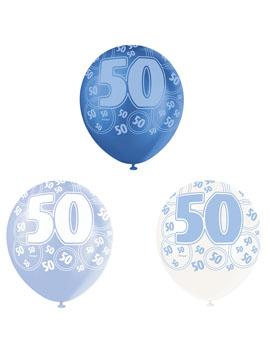 Set de 6 Globos 50 Cumpleaños Azul 30 cm