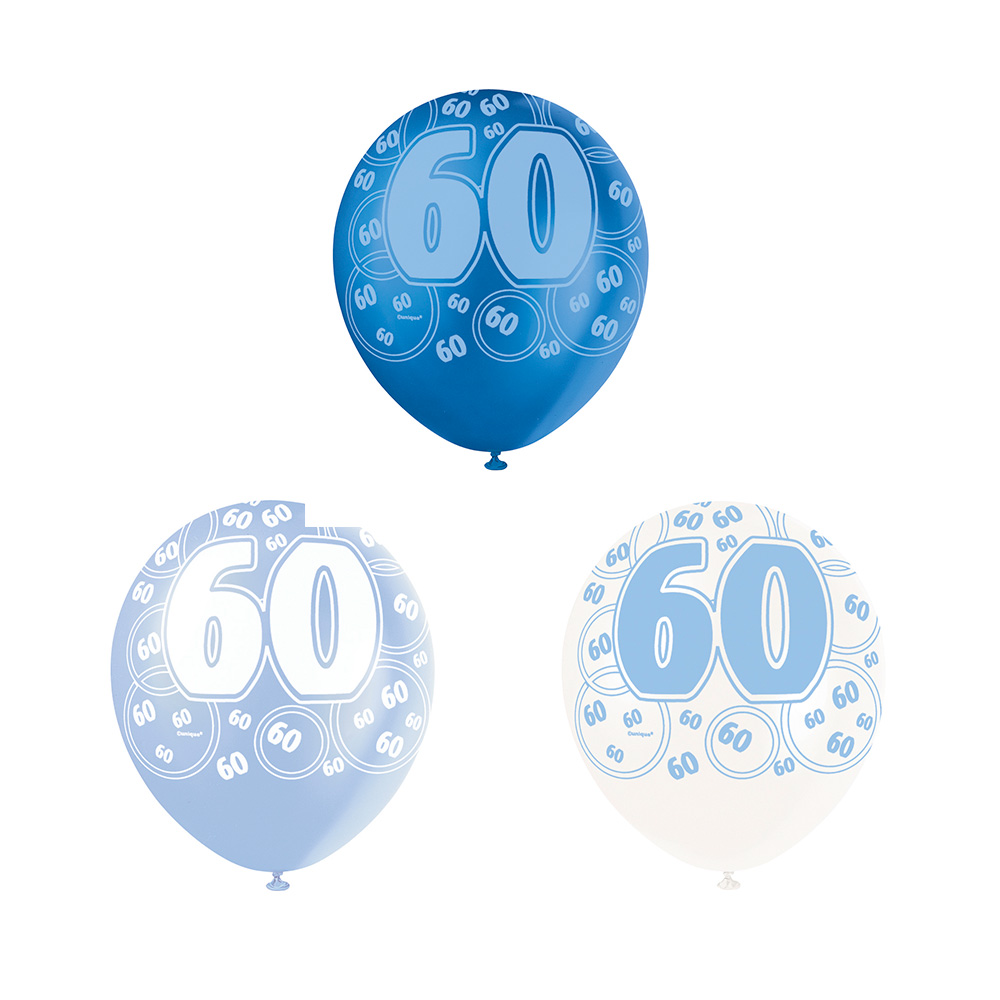 Set de 6 Globos 60 Cumpleaños Azul 30 cm