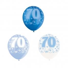 Set de 6 Globos 70 Cumpleaños Azul 30 cm