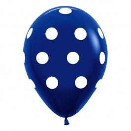 Globos Azul Marino con Lunares Blancos