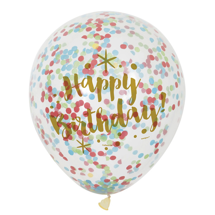 Globos Happy Birthday con Confeti Multicolor