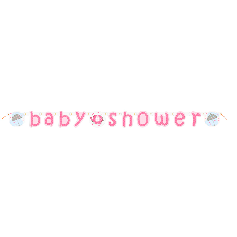 Guirnalda Baby Shower Elefante Rosa
