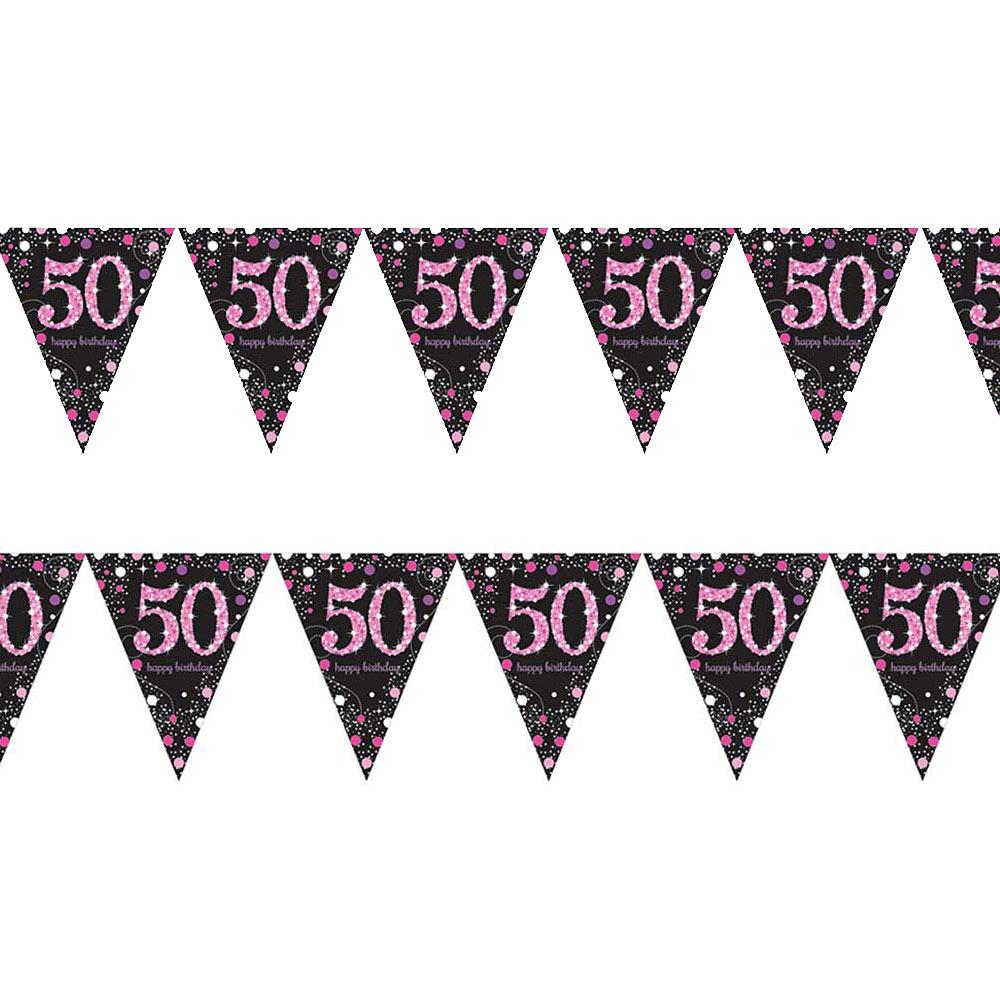 Guirnalda con banderines de 50 cumpleaños Pink Sparkling de 4 metros
