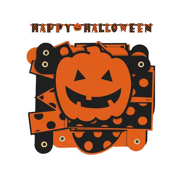 Guirnalda Happy Halloween naranja con lunares negros