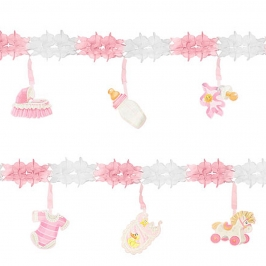 Guirnalda para fiestas de nacimiento rosa de 3 metros de largo con figuras colgantes