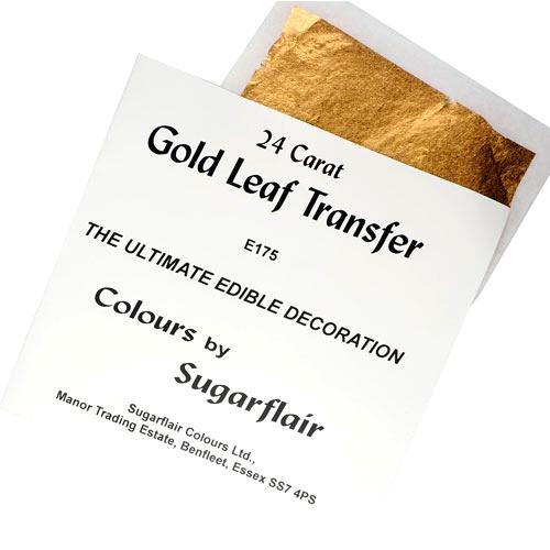 Sugarflairtransferencia de hoja comestibles 24 quilates de oro