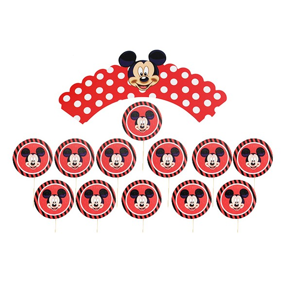 Juego De 12 Wrappers Y Toppers Mickey Mouse My Karamelli