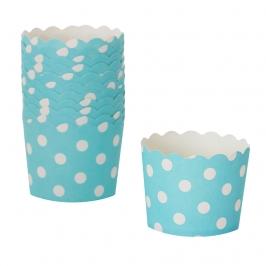 Cápsulas para Cupcakes Azules con Lunares Blancos