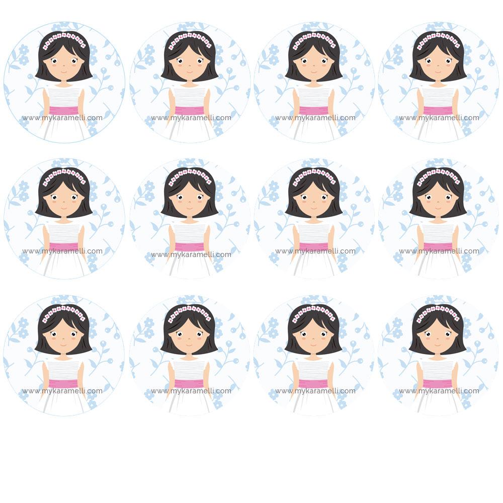 Impresión en papel de azúcar niña de comunión modelo a