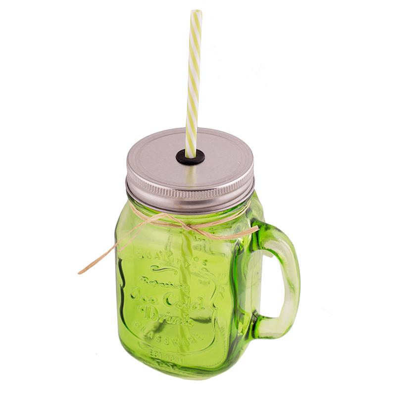 Jarra de cristal con asa, tapa y pajita color verde - My Karamelli