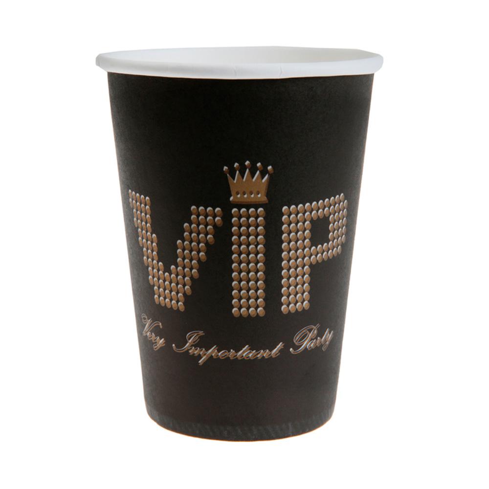 Juego 10 Vasos Negros VIP 220 ml